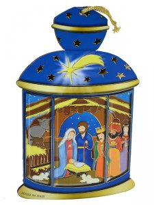 Copertina di 'Lanterna blu da appendere con presepe per bambini - altezza 14 cm'