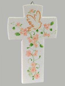 Copertina di 'Croce con colomba effetto pietra - Fiore pesca'