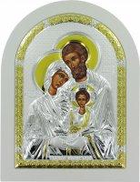 Icona Sacra Famiglia greca a forma di arco con lastra in argento - 24,7 x 32,5 cm