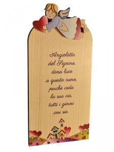 """Copertina di 'Icona in legno """"Angioletto del Signore"""" - dimensioni 9x18 cm'"""