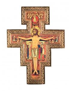 Copertina di 'Crocifisso San Damiano da parete stampa su legno bordo oro - 10 x 8 cm'