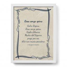 """Copertina di 'Quadro con preghiera """"Rosa senza spina"""" su cornice minimal - dimensioni 44x34 cm'"""