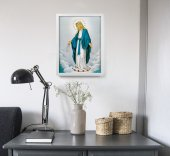 """Immagine di 'Quadro """"Immacolata Concezione"""" con lamina oro e cornice minimal - dimensioni 44x34 cm'"""