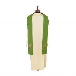 Copertina di 'Stola verde con ricamo a croce greca e pesci stilizzati'
