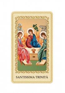 """Copertina di 'Immaginetta plastificata con preghiera """"Santissima Trinità"""" - dimensioni 6x10 cm'"""