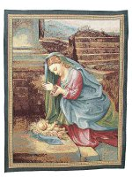 """Arazzo sacro """"Madonna che adora il Bambino"""" - dimensioni 65x53 cm - Correggio"""