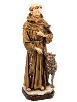"""Statua in resina colorata dipinta a mano """"San Francesco con il lupo"""" - altezza 30 cm"""