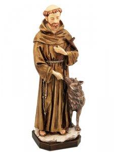 """Copertina di 'Statua in resina colorata dipinta a mano """"San Francesco con il lupo"""" - altezza 30 cm'"""