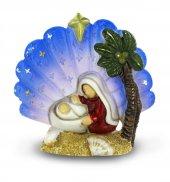 Conchiglia Madonna e Gesù Bambino in resina colorata cm 5