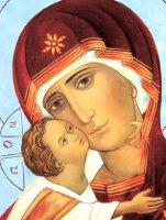 Immagine di 'Icona Madonna col Bambino stampa su Quadro in legno con bordo dorato - 29 x 24 cm'