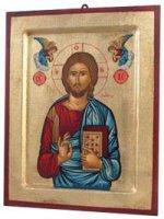 """Icona in legno e foglia oro """"Gesù Cristo datore di vita"""" - dimensioni 17x14 cm"""