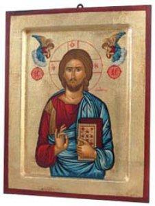 """Copertina di 'Icona in legno e foglia oro """"Gesù Cristo datore di vita"""" - dimensioni 17x14 cm'"""