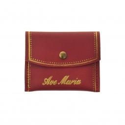 """Copertina di 'Portarosario rettangolare in pelle con bottoncino e scritta dorata """"Ave Maria"""" - colore rosso'"""