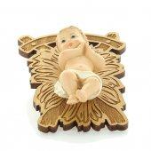 Gesù Bambino su greppia di legno - altezza 9 cm