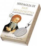 Immagine di 'Medaglia di San Benedetto rotonda in acciaio inox con catenina - diametro 2,5 cm'