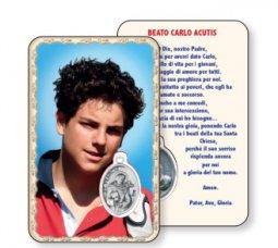 """Copertina di 'Card """"Beato Carlo Acutis"""" con preghiera e medaglia - (10 pezzi)'"""