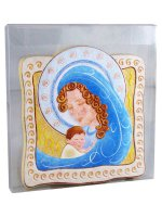 """Immagine di 'Icona """"Madonna con Gesù Bambino"""" per bambini - dimensioni 10,5x10 cm'"""