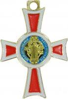 Immagine di 'Croce San Benedetto coniata con bagno d'oro 24 kt con smalto rosso - 2,6 cm'