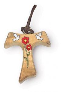 Copertina di 'Ciondolo con croce Tau in legno d'ulivo e decoro di colombe - altezza 2,5 cm'