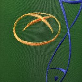 Immagine di 'Stola verde con ricamo policromo a croce con pesce e pane'