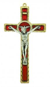 Copertina di 'Crocifisso da parete Spirito Santo in metallo con smalto rosso - 17 cm'