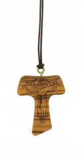 Copertina di 'Tau in legno di ulivo con San Francesco d'Assisi inciso e cordoncino - 4 cm'