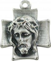 Croce volto Cristo in metallo ossidato - 2,5 cm
