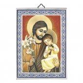 """Icona con cornice azzurra """"San Giuseppe e Bambinello"""" - dimensioni 14x10 cm"""