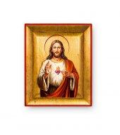 """Quadretto in foglia d'oro """"Sacro Cuore di Gesù"""" - dimensioni 8x6,5 cm"""