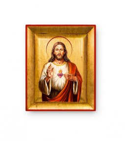 """Copertina di 'Quadretto in foglia d'oro """"Sacro Cuore di Gesù"""" - dimensioni 8x6,5 cm'"""