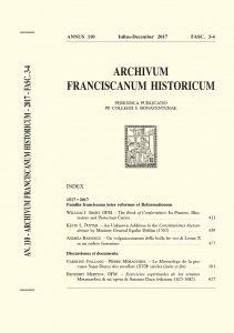 Archivum Franciscanum Historicum n. 2017/3-4