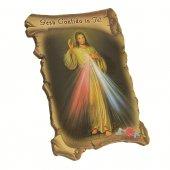 """Quadretto a forma di pergamena con piedino da appoggio """"Gesù confido in Te"""" (10 x 7)"""
