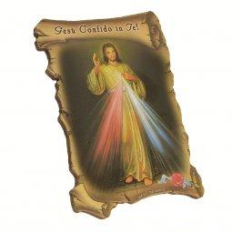 """Copertina di 'Quadretto a forma di pergamena con piedino da appoggio """"Gesù confido in Te"""" (10 x 7)'"""