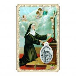 """Copertina di 'Card """"Santa Rita"""" con preghiera e medaglia - (10 pezzi)'"""