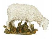 Pecora che bruca su base Linea Martino Landi - presepe da 10 cm