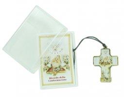 Copertina di 'Bomboniera Cresima bambino/bambina: croce in legno con scatola in italiano - 3 cm'