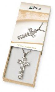 Copertina di 'Confezione con catenina e croce con strass in acciaio inox'