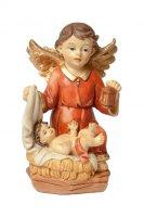 Angelo custode in resina colorata con bambino - altezza 10 cm