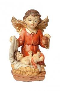 Copertina di 'Angelo custode in resina colorata con bambino - altezza 10 cm'