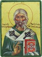 Icona Saint Patrick / San Patrizio, produzione greca su legno - 10 x 7,5 cm