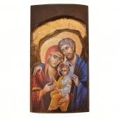 Icona in legno con Sacra Famiglia in rilievo (h. 17 cm)