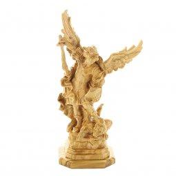 """Copertina di 'Statuetta in legno d'ulivo con base """"San Michele Arcangelo"""" - altezza 13 cm'"""