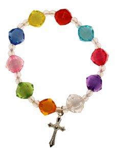 Copertina di 'Bracciale rosario multicolore per bambini - grani sfaccettati 12 mm'