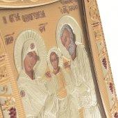 """Immagine di 'Icona """"Sacra Famiglia"""" greco ortodossa in legno e argento'"""