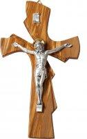 Croce sagomata in legno d'ulivo con Cristo in metallo - altezza 20 cm