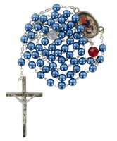 Rosario Maria che scioglie i nodi imitazione perla - Blu