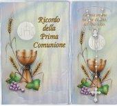 Bomboniera Comunione: Libretto ricordo della Prima Comunione con rosario, testi in italiano