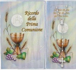 Copertina di 'Bomboniera Comunione: Libretto ricordo della Prima Comunione con rosario, testi in italiano'
