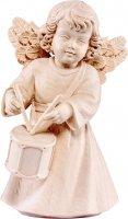 Statuina dell'angioletto con tamburo, linea da 10 cm, in legno naturale, collezione Angeli Sissi - Demetz Deur