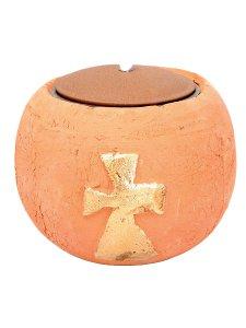 Copertina di 'Lampada a sfera per cera liquida in terracotta con croce dorata - diametro 14 cm'